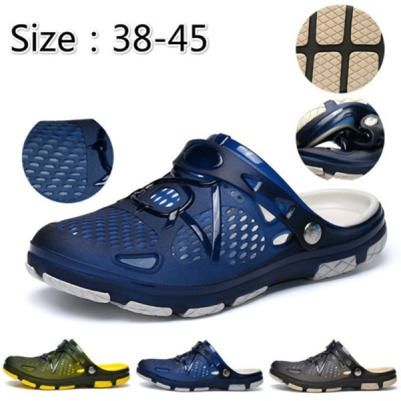 Men's Casual Summer Breathable Sandals Hollow Flat Sandals Beach Shoes Wading Sandals Authentic Fash