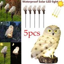 5 Pack Owl Solar Garden Lights with Solar Panel Fake Owl Waterproof Solar Garden Lights Owl Ornament Outdoor Yard Garden Lamps