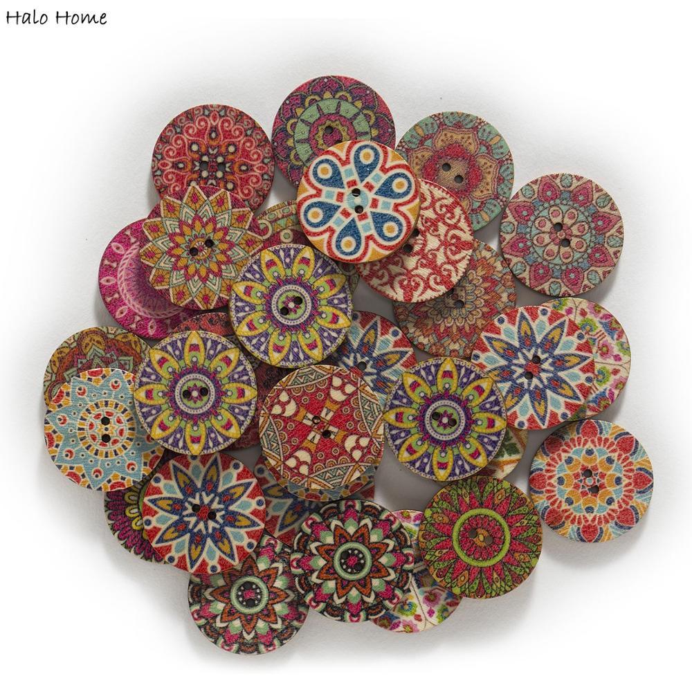 Botones de madera redondos pintados de estilo Retro de 50 Uds., hechos a mano para coser un libro de recortes ropa artesanal, accesorios para tarjetas de regalo de 15 a 25mm