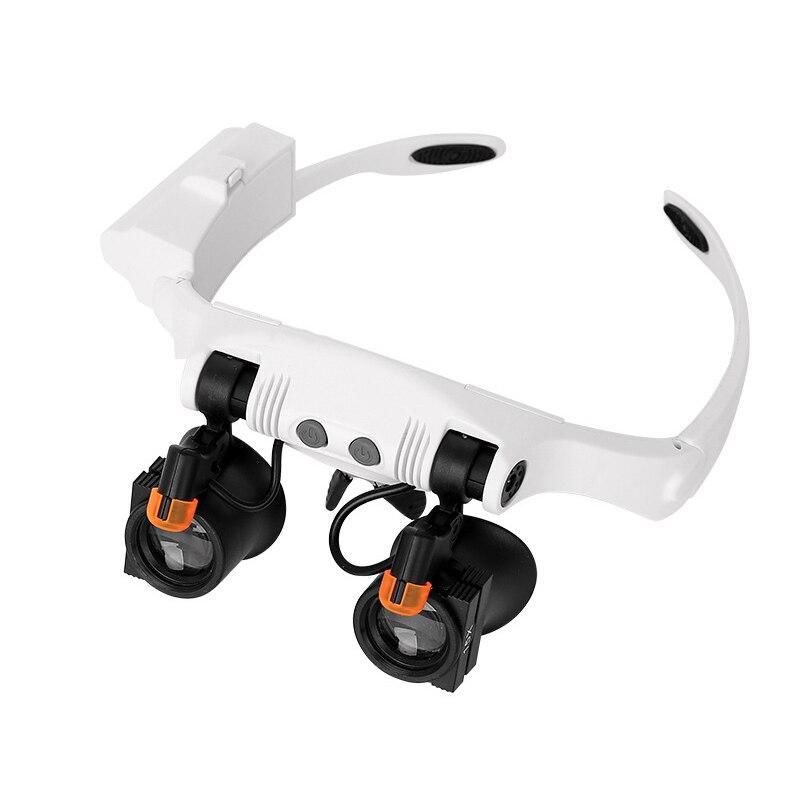 Lámpara de luz Led, gafas de doble ojo, lupa, lente, nificador, relojero, joyería, lente óptica, nificación, vidrio nificante