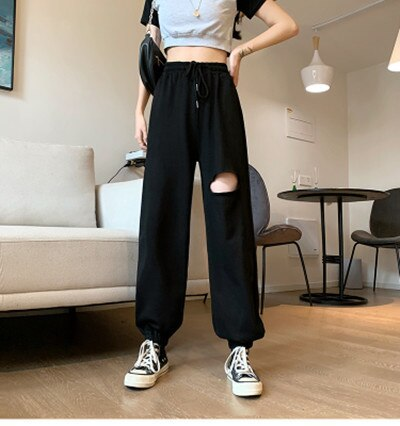 Large Size Ripped Pants Women's Clothing Spring and Autumn Korean Style Learning