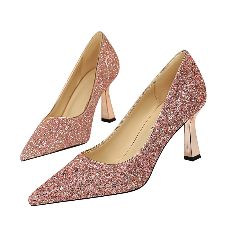 2020 Women 7.5cm High Heels Plus Size Wedding Scarpins Glitter Gold Bling Low Heels Pumps Bridal Pink Gold Luxury Design Shoes