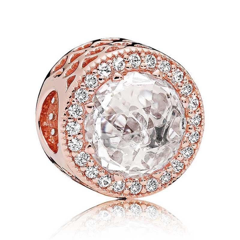 Cuenta en plata esterlina 925 encanto de oro rosa calado corazones radiantes con cuentas de cristal rosa y claro ajuste Pandora pulsera DIY joyería