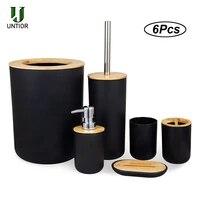 UNTIOR     Kit daccessoires de salle de bains en bambou  6 pieces  distributeur de savon  brosse de toilette  poubelle  ensemble de salle de bains  porte-brosse a dents