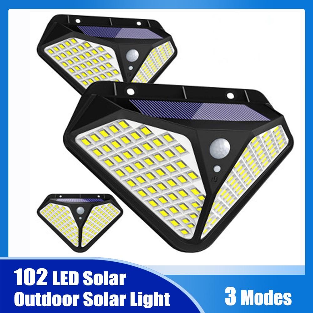 102/100 LED Solar Light Outdoor Solar Lamp Powered Sunlight 3 Modes PIR Motion Sensor for Garden Decoration Wall Street