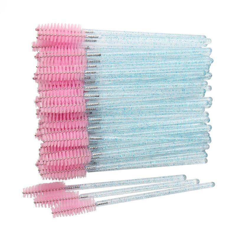 AliExpress - 50 pcs Cosmetic Eyelash Brush  Crystal Mascara Wands Applicator Diamond Eyelashes brushes Disposable Make Up brushes Tools