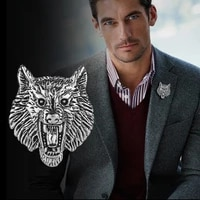 new vintage wolf head metal brooch pin suit coat badge animal lapel pins fashion brooches for men clothing jewelry accessories