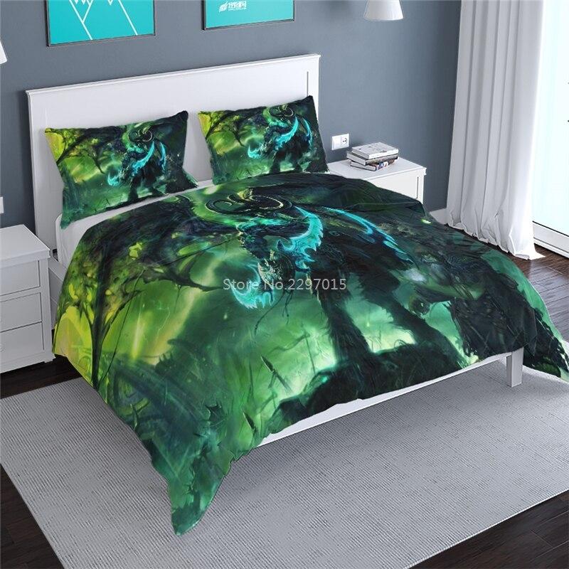 Juego de ropa de cama en 3d WoW de World of Warcraft, funda de edredón con estampado de Illidan, funda de almohada con doble cama King, ropa de cama para niños y adultos