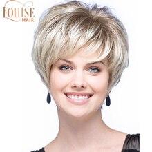 Perruques Bob lisses blondes de Louise   Perruques châtain clair de 10 pouces avec frange latérale, perruques en Fiber de haute température pour femmes