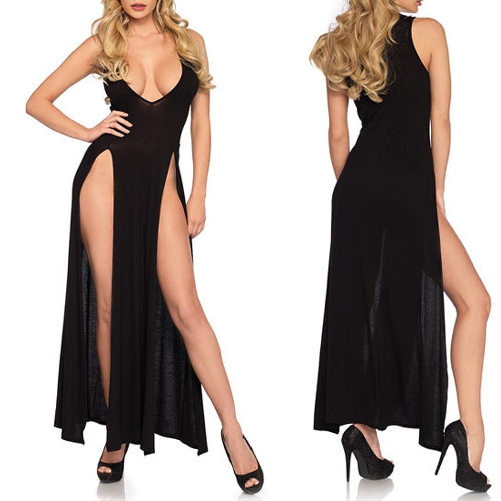 Lace V-Neck Long Sexy Erotic Nightdress Women Bathrobe Night Gowns High Split Open Crotch Sleepwear Maxi Night Dress Lingerie *A