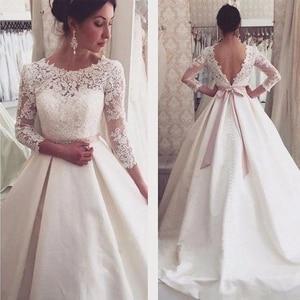 New Style Lace O-neck Long Wedding Dresses Sexy Backless Robe De Mariée Formal Bride To Be атласное платье Vestido De Novia