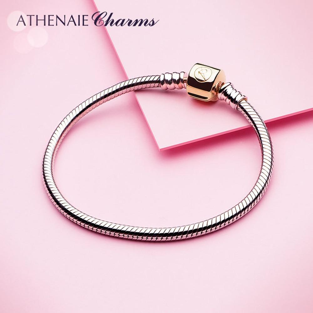 ATHENAIE 925 فضة ثعبان سلسلة سوار مع قفل اللون 18kt الذهب لسحر أساور مجوهرات لتقوم بها بنفسك