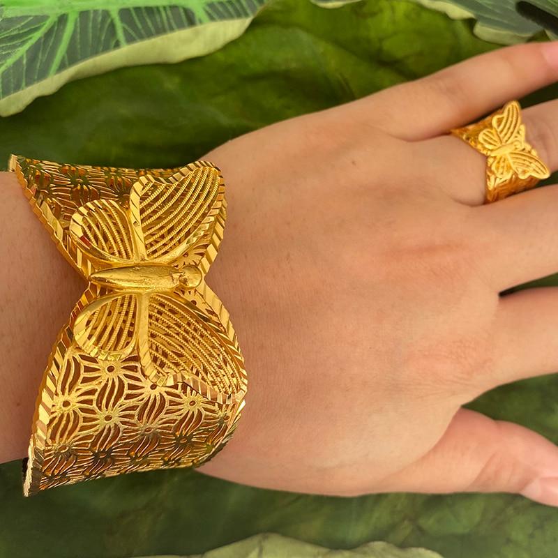 فراشة المملكة العربية السعودية الإسورة للنساء 24k الذهب اللون Hyperbole الأفريقي الهند سوار مع خاتم دبي هدايا الزفاف الزفاف