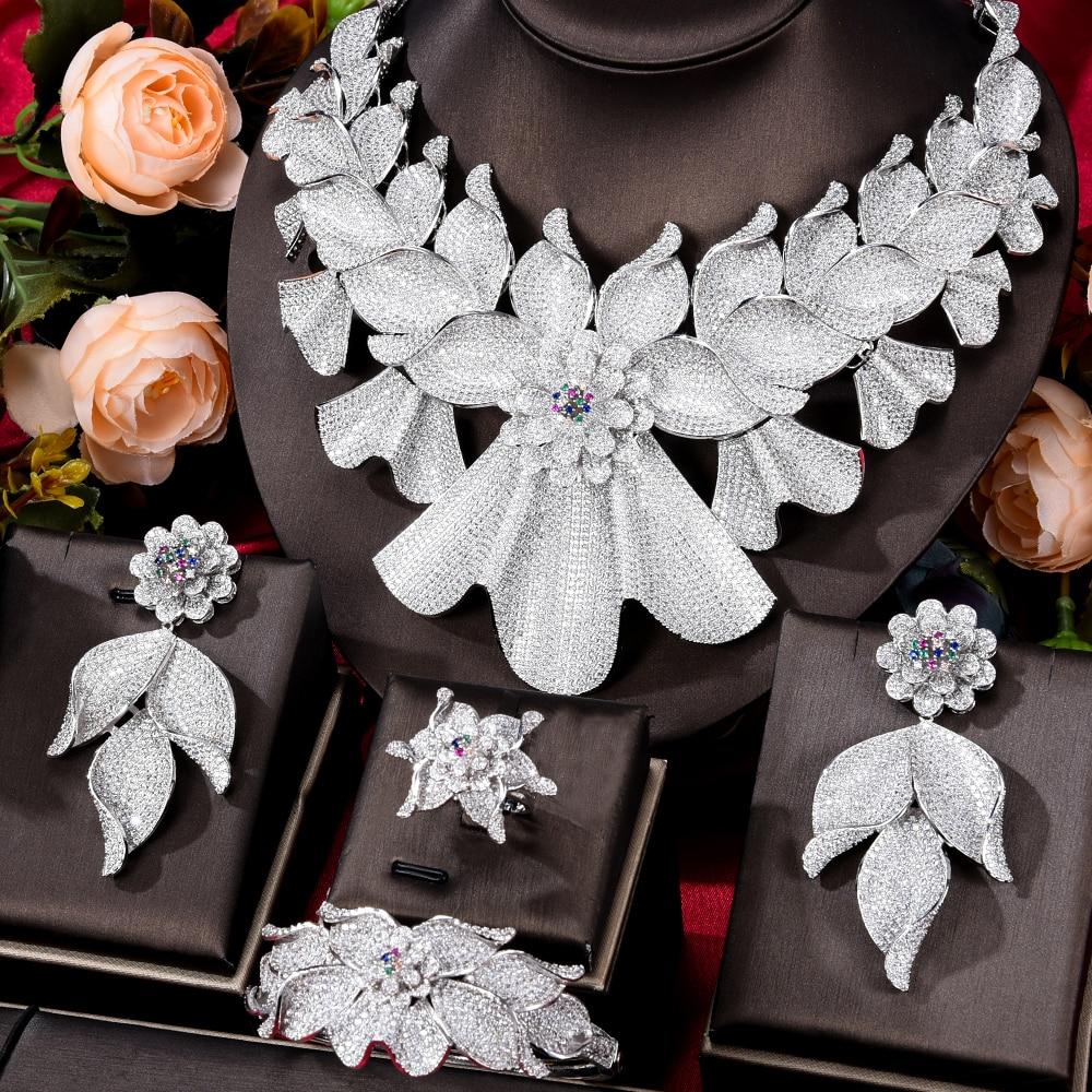 GODKI سوبر كبير فاخر 4 قطعة الزهور مجموعات مجوهرات الأفريقية للنساء الزفاف زركون دبي الزفاف مجموعات مجوهرات 2020 كوستيوم