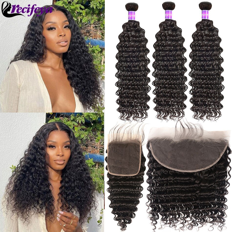 4x4 5x5 13x4 Lace Frontal With Bundles Brazilian Deep Wave Hair Bundles With Frontal Deep Curly Human Hair Bundles With Closure