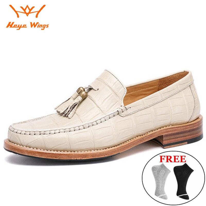 Heye أجنحة العلامة التجارية الخاصة مخصص التمساح البطن جلد حذاء كاجوال الرجال تنوعا أحذية الأعمال مكان العمل الرجال فستان