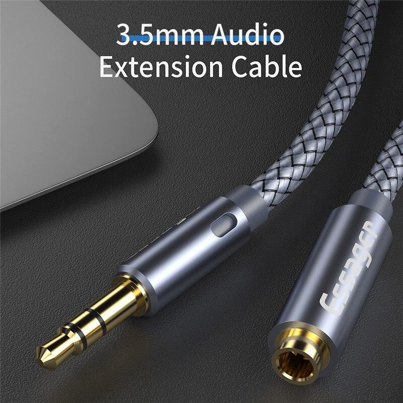 Cable Aux Jack de Audio de 3,5 Mm Cable de extensión para auriculares Jack 3,5 Divisor de Cable de altavoz de 1m/2m/3m/5m de extensor de Cable