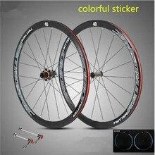 700C Road Bike Bicycle Ultra-light Aluminum Alloy Wheelset Sealed Bearing Carbon Fiber Hub Colorful Reflective Wheels 40mm Rim