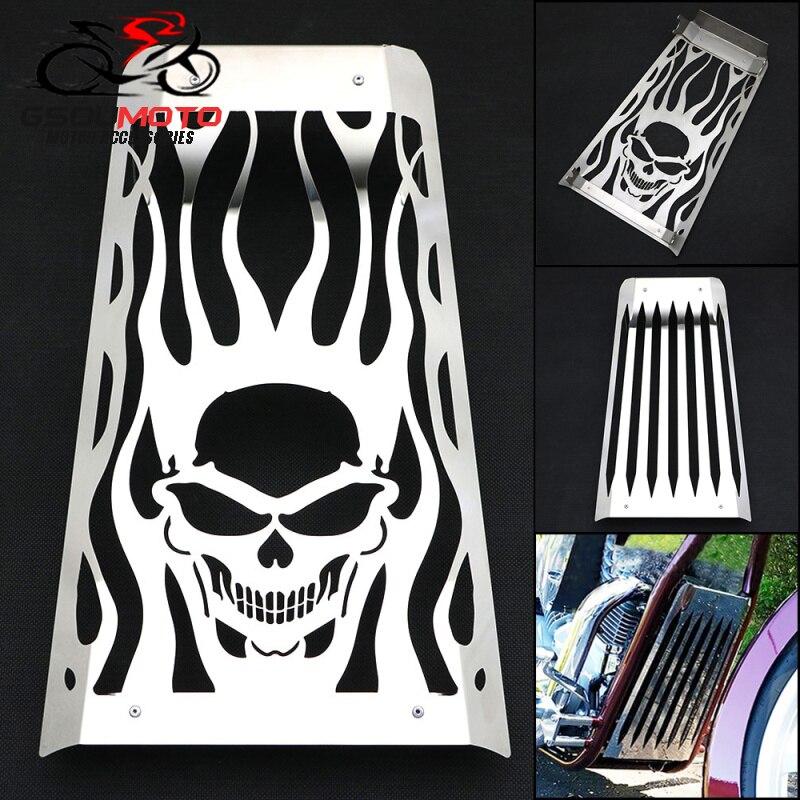 Protector de la parrilla de la cubierta del radiador del acero inoxidable pulido del estilo de la llama del cráneo de la motocicleta para Honda Fury VT1300 2010-2016