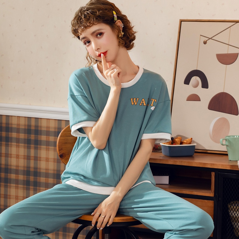 JULYS SONG pijamas de algodón de dibujos animados para mujer, pijamas casuales de cuello redondo de manga corta, pantalones largos, ropa de noche para mujer, pijamas de verano primavera femenina