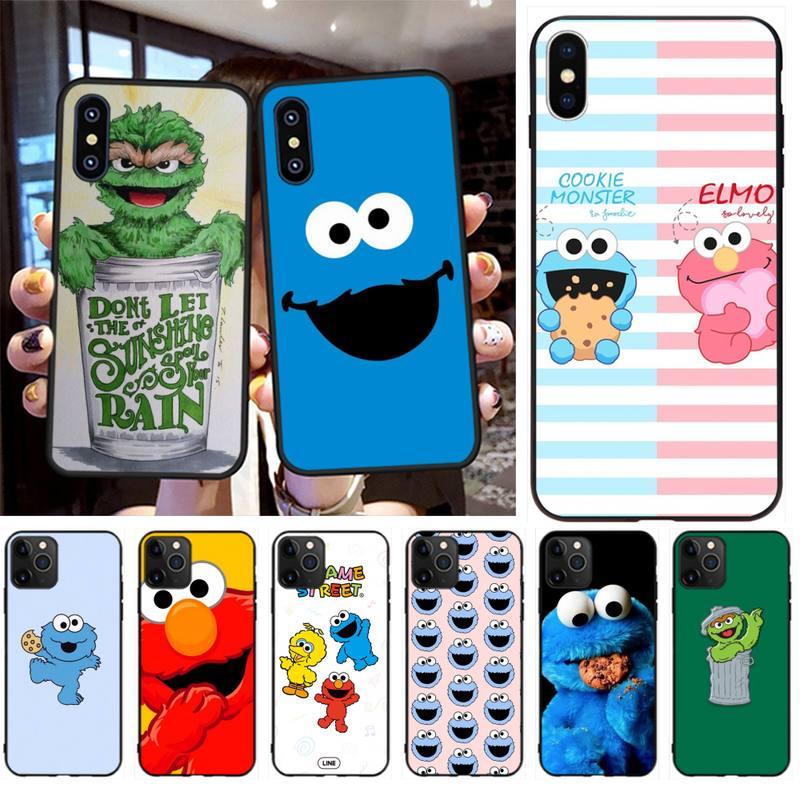 NBDRUICAI, galleta de Barrio Sésamo, Elmo, carcasa negra suave para teléfono, Capa para iPhone 11 pro XS MAX 8 7 6 6S Plus X 5S SE 2020 XR, funda