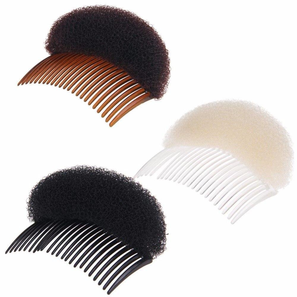 Fashion Black Coffee White Hair Booster Combs Fluffy Plastic Bun Maker Hair Braiders Women Adults Hair Styling Tools