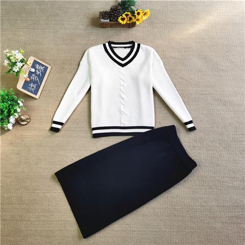 Spring New French Style Retro Set Wool Skirt Women's Loose Sweater High Waist Skirt Two-Piece Dress  - buy with discount