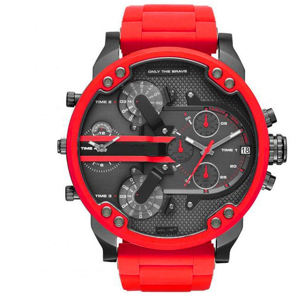 Sports Men's Watches Top Brand Luxury Stainless Steel Red Quartz Watch Clock Man Digital Army Orologio Uomo Male Wristwatch P