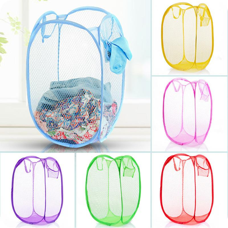 Storage Baskets Laundry Clothes Laundry Basket Bag Foldable Pop Up Easy Open Mesh Laundry Clothes Ha