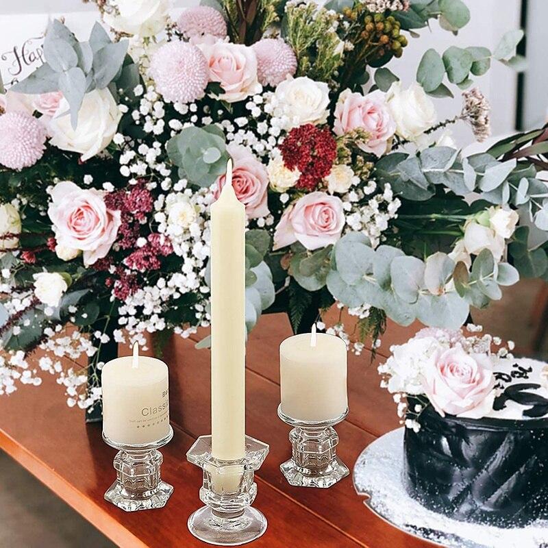 Lote de 6 candelabros de cristal, candelabros transparentes aptos para candelabros de 1,85 pulgadas o velas cónicas de 7/8 pulgadas para mesa