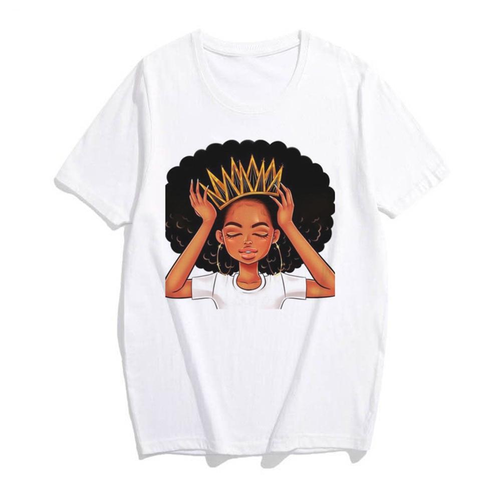 Chica Africana T camisa mujeres Kawaii Harajuku Punk estética gótico Vintage de algodón de manga corta de talla grande Top Tees tee camisa Mujer