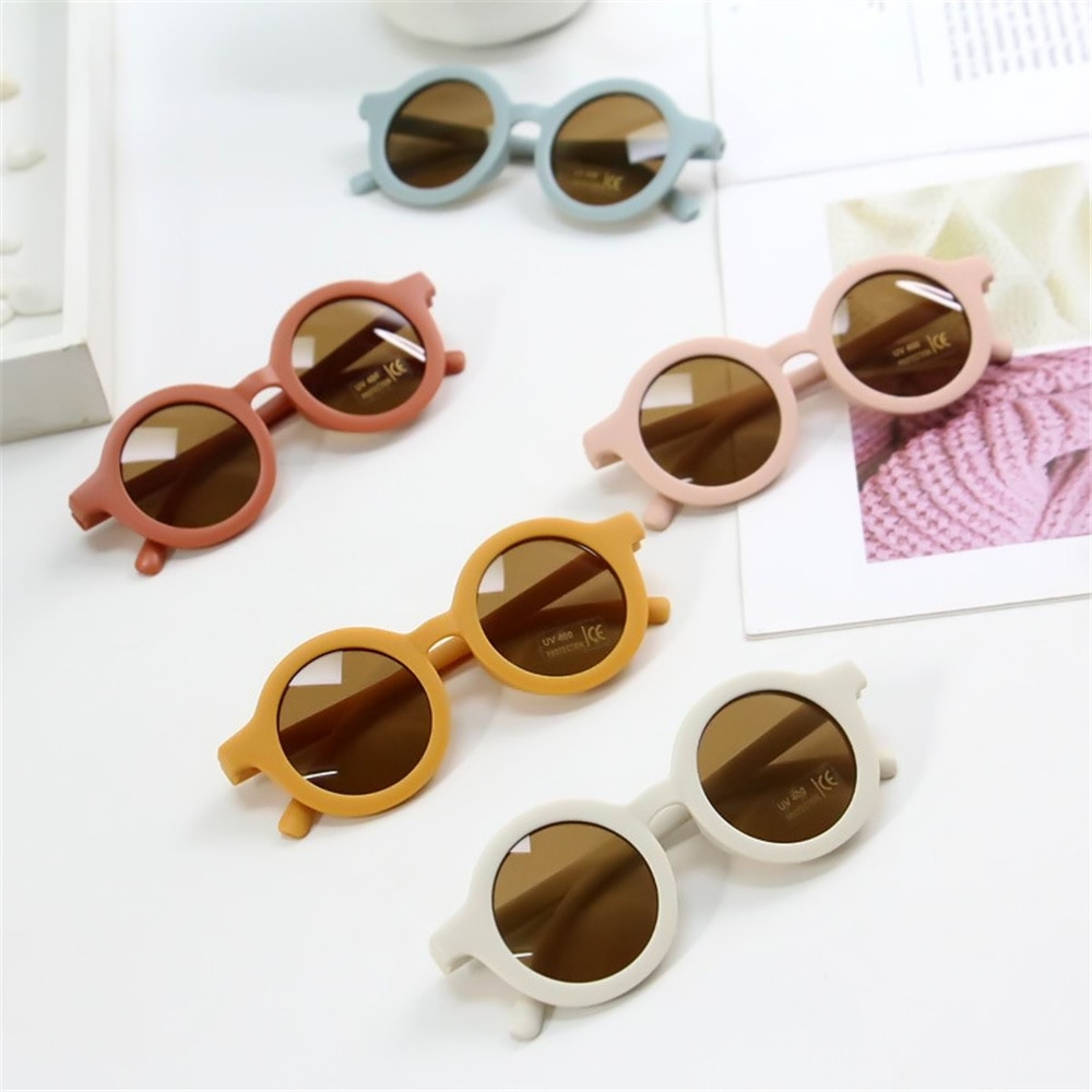 1pcs Children's Sunglasses Infant's Retro Solid Color Ultraviolet-proof Round Convenience Glasses Ey