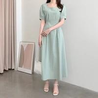 korean chic one piece summer dress womens elegant puff sleeve solid slim waist midi dresses square neck lace up pleated dress