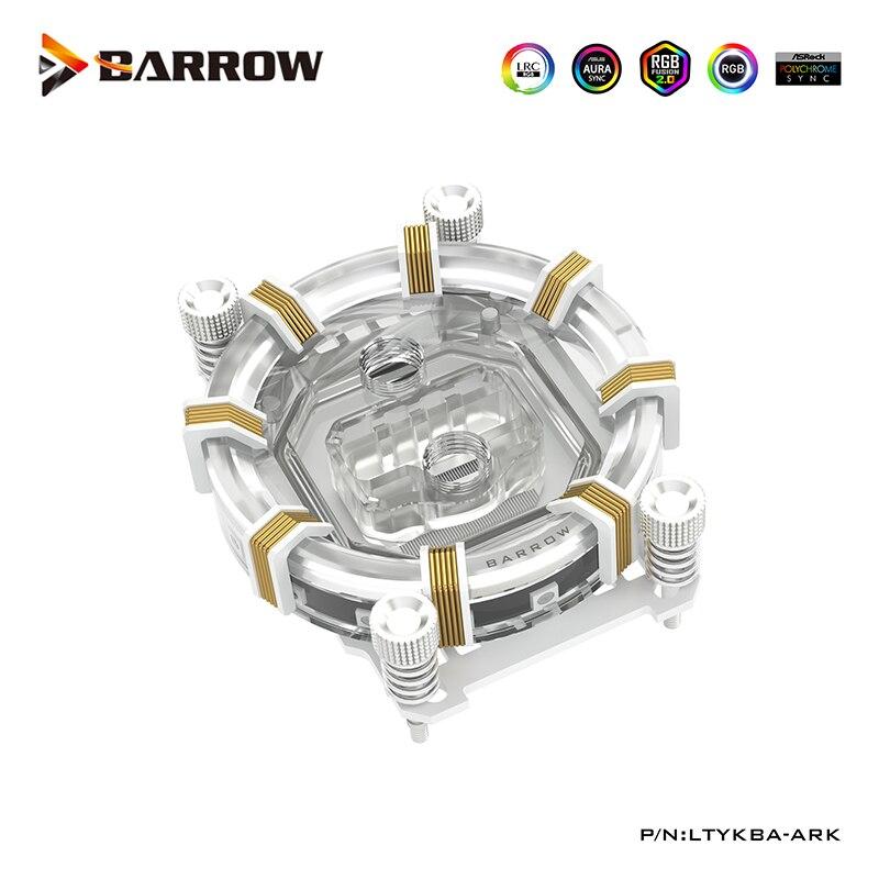 Barrow CPU Water Block Compatible Ryzen AMD AM4,Support Motherboard Control,White,Black,G1/4