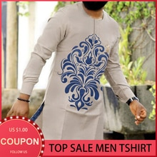 African Traditional Bazin Men Dress Long T Shirt With Long-sleeve Man Plus Size Slim Fit Floral Print Riche Dashiki Top Male