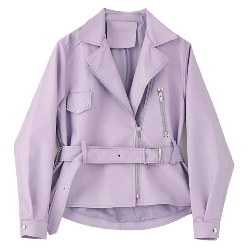 Nova mulher motociclista motocicleta jaqueta primavera outono fino turn down collar falso casaco de couro feminino com cinto roxo jaquetas outwear