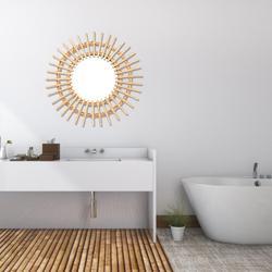 Espelho de rattan para parede, arte inovadora de decoração espelho redondo, maquiagem, vestimenta de banheiro, cor primária, espelho de pendurar na parede