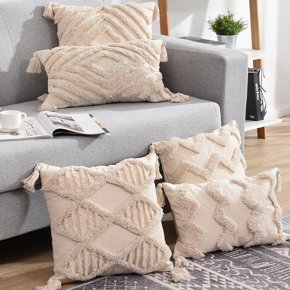 Tassels Decorative Cushion Cover 45x 45cm/30x50cm Beige Sofa Pillow Case Cover Handmade Home Decorat