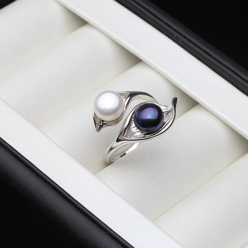 fashion natural pearl rings 925 sterling silver pearl ring adjustable white freshwater pearl ring butterfuly women birthday gift Wedding Real Natural Freshwater White Black Double Pearl Ring Boho Fashion Leaf 925 Sterling Silver Rings For Women