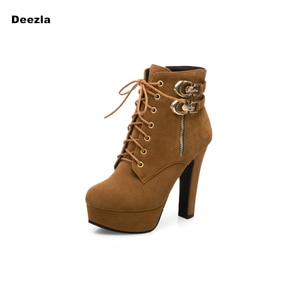 Sexy Ankle Boots Women Platform Heels Boots Woman Fashion Lace up Black Brown Boots Autumn Winter Lady Shoes Big size 41 42 43