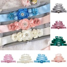Ladies Wedding Decoration Maternity Sash Belt Women Elegant Satin Flower Sash Solid Color Sweet DIY