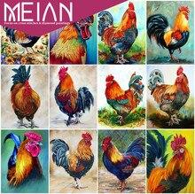 2020 Meian Chicken Diamond Embroidery Diamond Painting Chicken  Animal Rhinestone Picture 5D Diamond Mosaic Farm Decoration