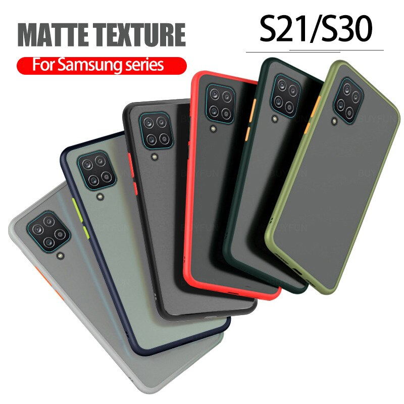 Matte Stoßfest Telefon Fall Für Samsung Galaxy S21 plus S21 Ultra S30plus S30Ultra Silikon Soft Cover Objektiv schutz 0,3mm