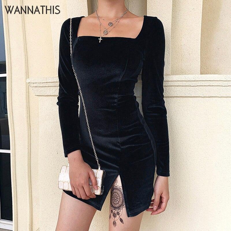 Mini vestidos de terciopelo negro de wanthin divididos sexis delgados cuello de barco manga larga dobladillo de hendidura suave moda Otoño Invierno nuevos vestidos de fiesta
