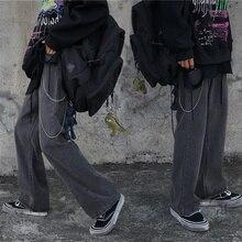 2021 Autumn Winter New Korean Style Ins Smoky Gray Student Straight Velvet Thick Jeans Wide Leg Pant