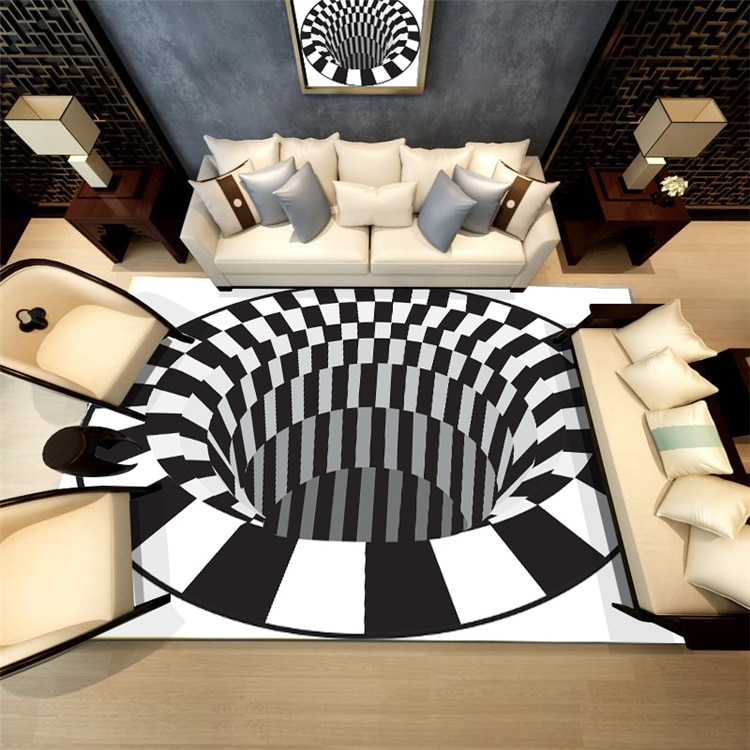 Alfombra 3D Carpet Bedroom Crystal Velvet Mat Living Room Floor Area Rug Table Rugs Geometric Optical Illusion Trap Carpets