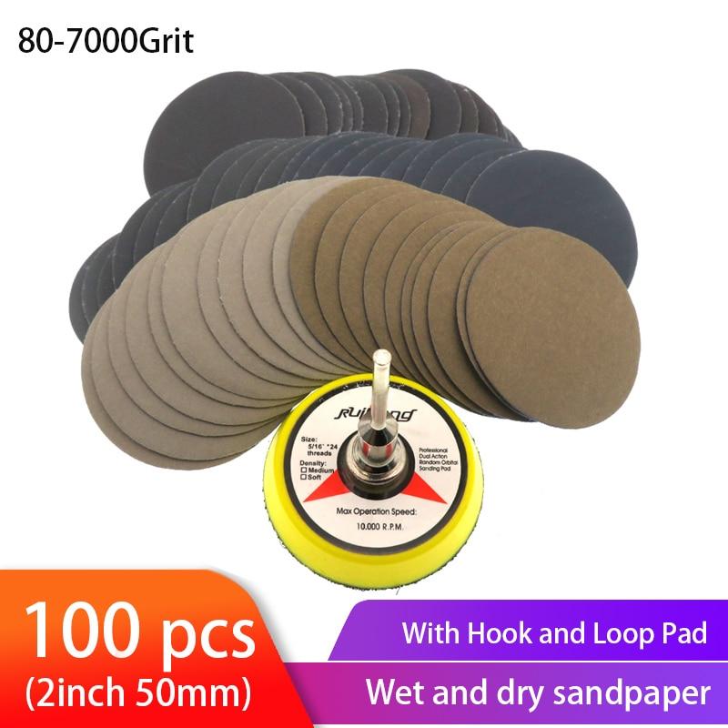 100vnt. Drėgnas sausas švitrinio popieriaus asortimentas 80-7000 smėlio šlifavimo diskas 2 colių 50 mm su kabliu ir kilpa, šlifavimo diskas medienai