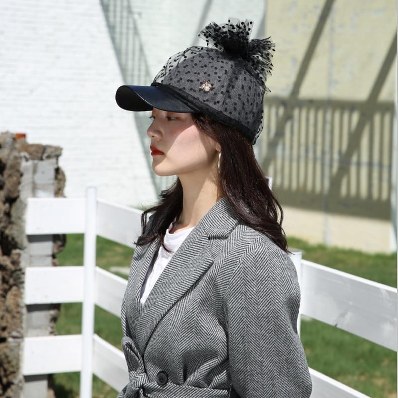 202009-xushen nueva primavera punto perla de encaje abeja lana visera de pu señora gorra con visera mujeres ocio sombrero