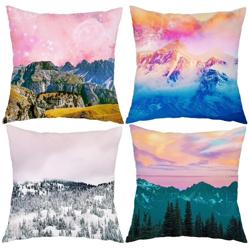 Mountain Pattern Pillowcase Home Sofa Polyester Pillow Cover Square Pillowcase Bedroom Hotel Car Decoration 45cm*45cm stylish seabed landscape fish pattern square shape flax pillowcase without pillow inner