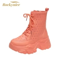 womens high platform chunky sneakers 2021 autumn ankle boots 7cm wedges heels leather motorcycle boot botas high heels de mujer